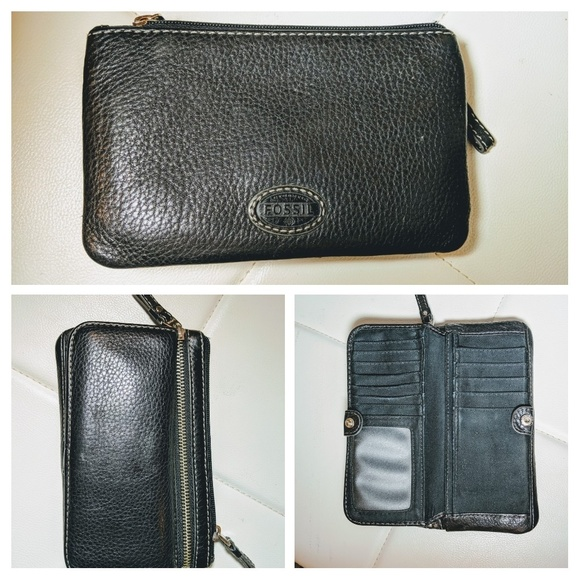 Fossil Handbags - Fossil wallet, black leather, awesome price